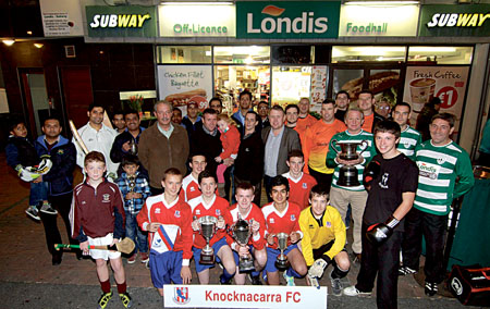 Derek and Jonathan Corbett of Londis Newcastle with members of Galway Cricket Club, Knocknacarra FC, Rahoon Hurling Club, A&R Kickboxing Club, Corrib Rangers FC, and West United FC sporting clubs sponsored by Londis Newcastle. Photo:-Mike Shaughnessy