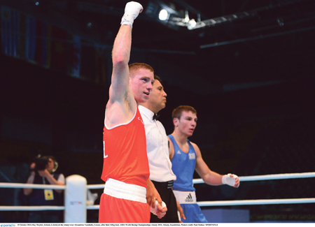 Ray Moylette wins the first round of the World Championships. Photo: Sportsfile.