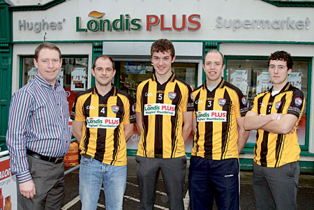 Backbone of the community — Cathal Hughes of Londis Plus Mountbellew with Brian Donnellan, Michael Daly, Joe Meehan, and Eoin Finnerty of the Mountbellew Senior Football team which is sponsored by Londis Plus Mountbellew. Photo:-Mike Shaughnessy