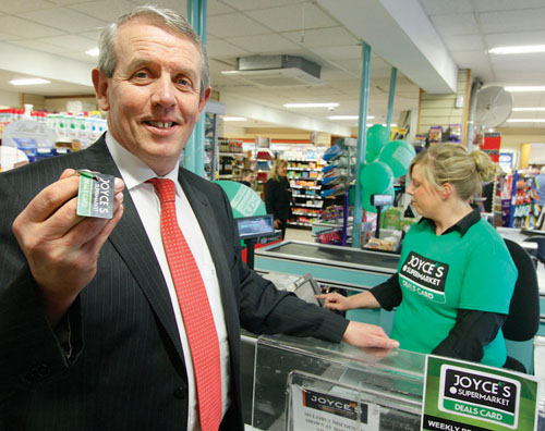 The key to saving thousands — Pat Joyce pictured with the keyring-friendly Joyces Supermarket Deals card.
