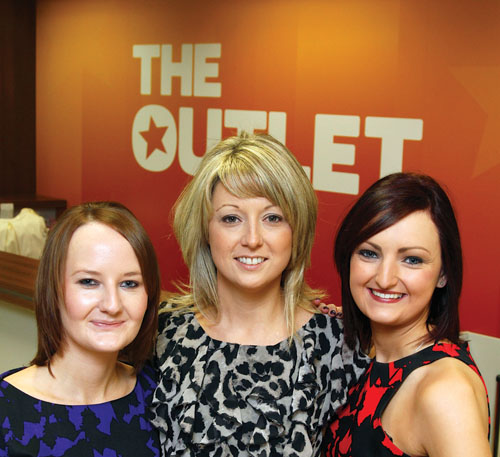 Sarah Fitzpatrick, Tara Hanley ( manager), and Lisa Fitzgerald of The Outlet Store, Tuam. Photo: Mike Shaughnessy.