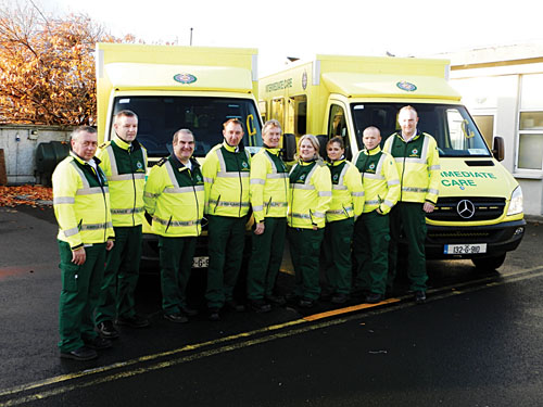Members of the new Intermediate Care Service in Mayo, (l-r): David Mc Hugh, ambulance officer for Mayo/ Roscommon region; Michael Conlon, ambulance supervisor; Brian Moran, ambulance supervisor; Kevin Coyne, emergency medical technician (EMT); Gerry Higgins, EMT; Siobhan Henry, EMT; Claire Fox, EMT; Reg Turner, EMT; and Aiden Comer, EMT.