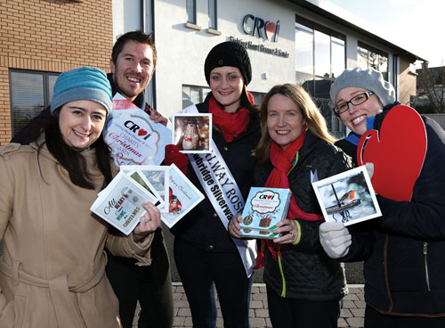 From left: Croí staff Irene Gibson, Barry McCann, Anne-Marie Walsh, and Claire Kerins with the Galway Rose, Kate Kennedy (centre), at the launch of the Croí Christmas cards at the Croí Heart & Stroke Centre. Cards are on sale now at €5.99 for 12 cards or are available online via www.croi.ie