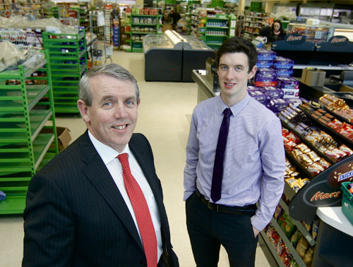 Pat Joyce with Patrick Joyce in the new Joyce's Supermarket, Headford which opens on Friday 29th. Photo:-Mike Shaughnessy 0872615780