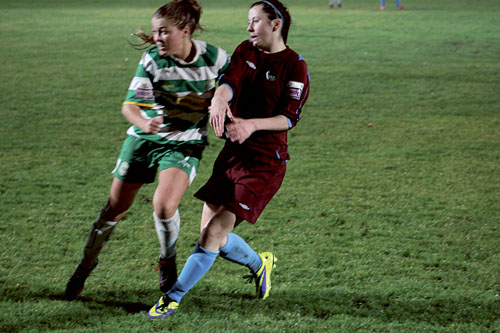 Galway's Alana Moran and Castlebar's Sarah  Rowe in action on Tuesday night.