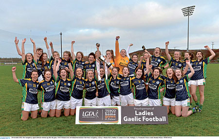 The victorious Claregalway Ladies celebrate All Ireland success.