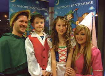 Declan Gardiner (Robin Hood), Cillian O'Donovan (Jack), Alexsaundra Watson (Jill), and Jenni Flaherty (Maid Marian) at the launch of the Renmore Pantomime.
