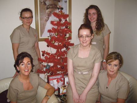 Staff from Beauty by Joan: Cliodhna McCabe, Kym Gallagher, Joan McHale (proprietor),  Kasia Rymarczyk, Yvonne Loughran. Missing from photo Senior Therapist Annette Jennings.
