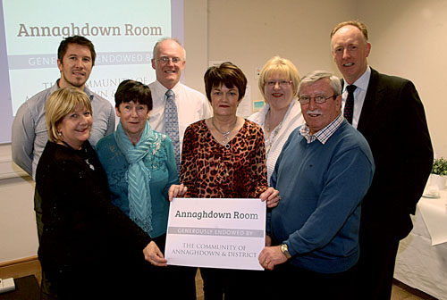 Pictured at a reception in the Croí Heart & Stroke Centre to mark the naming of the Annaghdown Room (front row left to right) Croí Friends committee members, Marion Newell, Aine Melvin, Teresa Farragher, Peter Flaherty (back row) Barry McCann of Croí, consultant cardiologist Dr Jim Crowley, Mairead Monaghan of Croí Friends Annaghdown, and Neil Johnson, Croí.