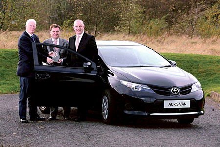 Toyota Auris van wins Continental Irish Car Derived Van of the Year. Pictured (L-R) at the presentation were: Brian Byrne, chairman of the van jury of the Irish Motoring Writers Association, Ian Corbett, marketing operations manager of Toyota Ireland, and Tom Dennigan, general sales manager - Ireland, Continental Tyre Group.