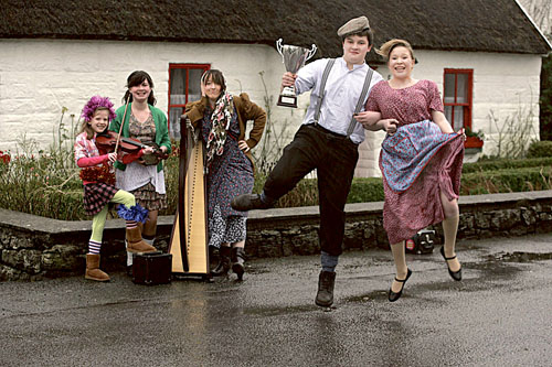 Emma Power, Aoife Glynn, Roisin Broderick, Brendan Tierney and Lisa Kelly of Corofin Wren Boys — former champions at the New Inn Mummers Festival.  Photo:-Mike Shaughnessy