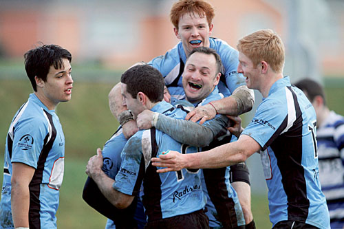 Galwegian players celebrate their win over  Corinthians in the Connacht Senior Cup game at Crowley Park on Saturday.  			Photo:-Mike Shaughnessy