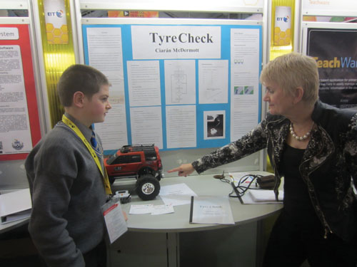 Independent MEP Marian Harkin chats to Ciaran McDermott from Marist College, Athlone at the BT Young Scientist Exhibition. Ciaran's project 'Measuring tyre pressure using ultrasonic sensors' is one of the finalists in this year's exhibition.