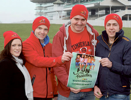 Brid Gilmartin of Partyfaces, Philip Cribbin of Preda Galway, Kevin Healy of the Roisin Dubh and James Moran of The Western Hotel at the launch on Saturday morning of PREDA's 5k