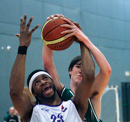 Stephen O'Brien of SSE Renewables Moycullen steals the ball from Bord Gaid Neptune's Darren Townes in action from the Basketball Ireland men's premier league game at Kingfisher NUIG on Saturday.  Photo:-Mike Shaughnessy