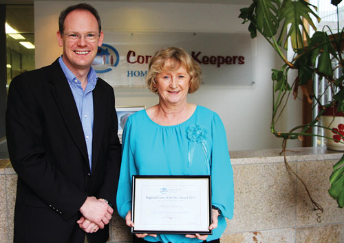 Breege Kinneavy pictured with Bob Power MD of Comfort Keepers.