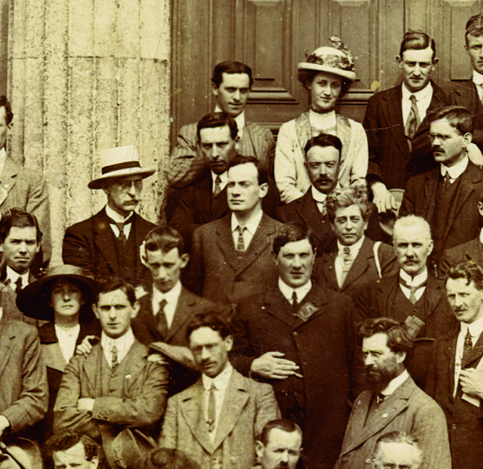 Pádraig Pearse among the  attendees at the 1913 Conradh na Gaeilge Oireachtas, pictured  outside the Town Hall, Galway, published in this newspaper November 28 2013. Embarrassed by a squint in his right eye, he usually posed for photographs showing a side-profile as he does here.