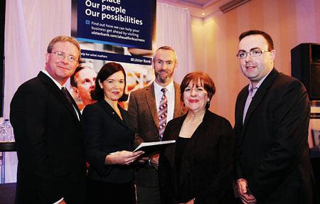 Pictured at the Ulster Bank Ahead for Business event, Radisson Blu Hotel, Galway, (L-R) Simon Barry, Chief Economist, Ulster Bank; Caroline Miney, Head of Business Banking, Galway Mayo Business Centre, Ulster Bank; Neville Furlong, Kinlay Hostel; Jill Kerby, personal finance journalist and Kenneth Fox, Channel Mechanics.