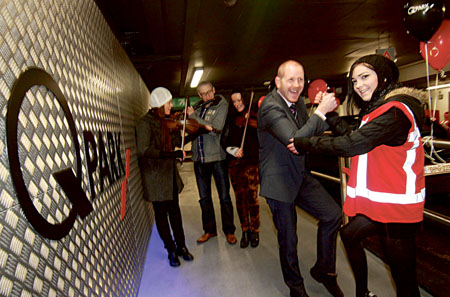 QPark Eyre Square's Darragh O'Callaghan and Aine Doheny do a jig to musicians Yvonne and Liz Keane with Dara O'Neill at the celebrations on Saturday to mark the relaunch of the Eyre Square Centre Car Park by QPark. Photo:-Mike Shaughnessy