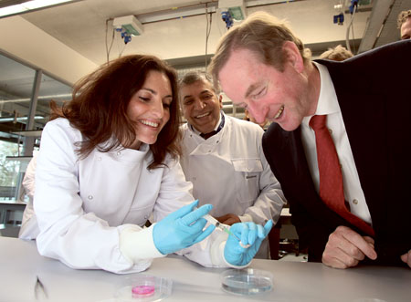Dr Sarah Gundy, Professor Abhay Pandit and An Taoiseach Enda Kenny at the official opening of the 30 million euro NUI Galway Biomedical Science Building which will host over 300 scientists.  Photograph by Aengus McMahon