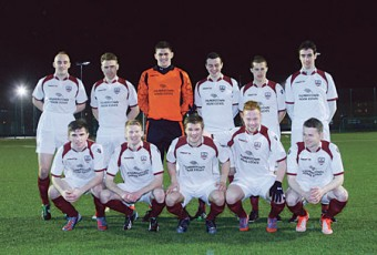 The Galway FC team which started against Sligo FC at Fahy's Field, Mervue, on Saturday night in the first fixture for the newly established club.  Back l-r,  Martin Conneely, Vinny Faherty, Conor Gleeson, Marc Ludden, Jake Keegan and Ross Kenny.  (Front l-r) Ryan Manning, Paul Sinnott, Colm Horgan, Ryan Connolly and Jason Molloy. 					Photo:-Mike Shaughnessy