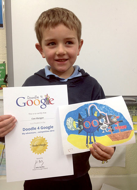 Cian Mangan with his colourful underwater adventure doodle