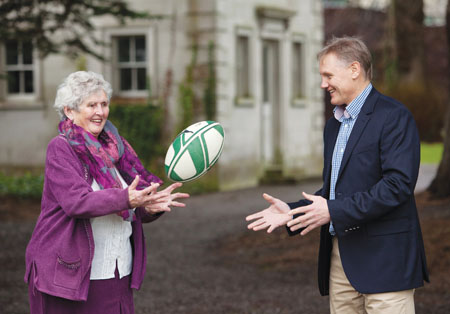 Senior citizen guidebook answers Ireland's call: Elaine Bolger shows Joe Schmidt, Ireland Rugby coach, what successful ageing means to her at the launch of Senior Citizen: The Essential Guidebook 2014.