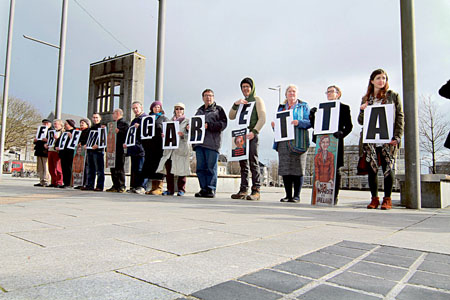 Supporters of Margaretta pictured in Eyre Square at the Free Margaretta D'Arcy campaign vigil on Wednesday in Eyre Square.  Photo:-Mike Shaughnessy