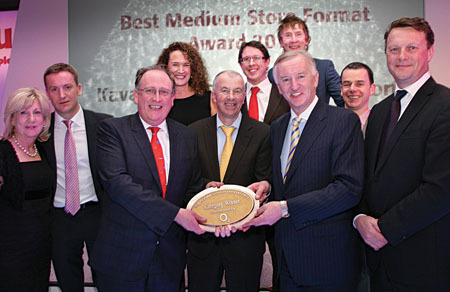 Noel and Marian Kavanagh, SuperValu Westport, collect the Store of the Year gong at an awards ceremony in Killarney.
