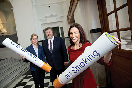 Pictured at the launch of the nationwide Quit Smoking Service by community pharmacists are Minister for Health, Dr James Reilly T.D. with Dr Stephanie O'Keeffe, HSE National Director of Health and Wellbeing and Kathy Maher, vice president, Irish Pharmacy Union.