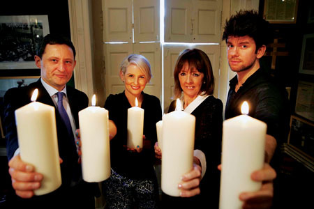 Officially launching Darkness Into Light for 2014 is Jim Dollard, executive director of sponsor Electric Ireland; Sinead Kennedy, RTE presenter; Joan Freeman, CEO of Pieta House; and Eoghan McDermott, RTE presenter.