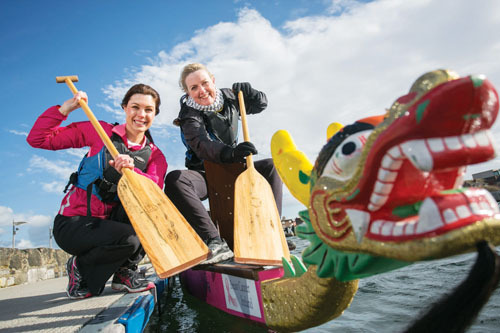 Erica Roseingrave, Coca-Cola Hellenic Ireland, and Dympna Watson, Europa Donna Ireland, pictured at the launch of the National Dragon Boat Roadshow which will visit Hodson Bay, Athlone on April 6.