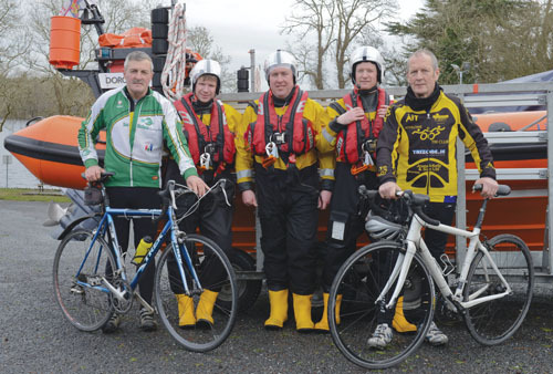 Bill Henshaw, Tom Bradbury, Donnie Herraghty, Stan Bradbury, and Matt Harte at the launch of the Lap Lough Ree charity cycle