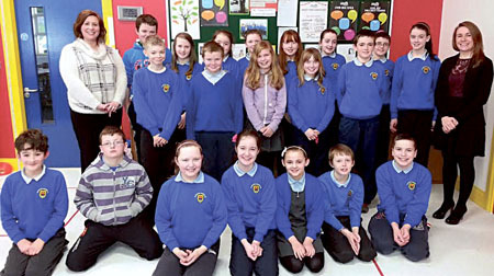 The young entrepreneurs at Mayo Abbey NS with Lisa Finn and Cliodhna Dowling from the Junior Entrepreneur Programme.