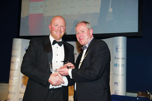 Damien Kelly of Planalife Best Broker Leinster with IBA president John Bissett