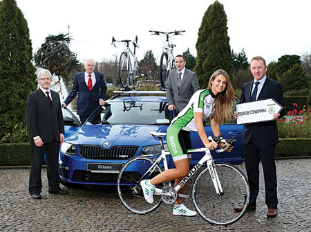 Pictured at the launch of the 2014 Skoda Tour de Conamara were Leo Monaghan, dealer principal of Monaghan & Sons, Galway; Joe Monaghan; Raymond Leddy, head of marketing and product, Skoda Ireland; Mark O'Connell, representing event partners W2; and Vogue Williams who is taking part in the Skoda series sportive event in Sligo. The increasingly popular cycling sportive will take place on Saturday May 24 and is part of a weekend of cycling activity.