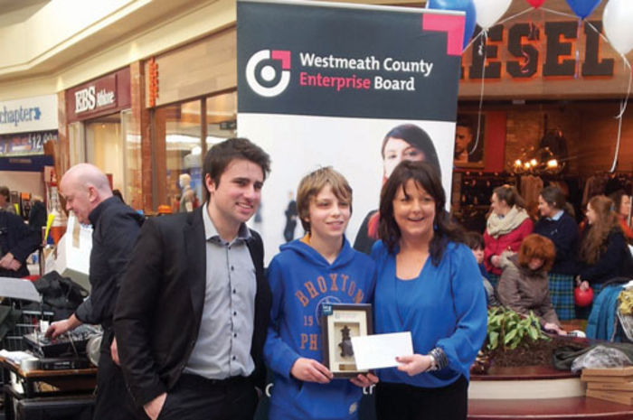 Mikolaj Pietrykowski of CBS Mullingar is pictured with judge Conor Cochrane and Tracey Tallon of Westmeath Enterprise Board at the recent Westmeath heat of the Student Enterprise Competition