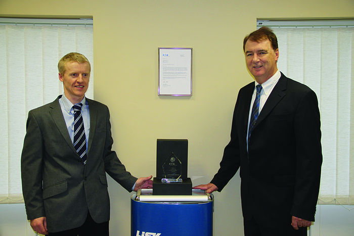 Left to right: Norbert Heavey, Sales Manager, Lisk Ireland Limited and John Tully, Managing Director Lisk Ireland Limited with the prestigious Eaton Supplier of the Year Award