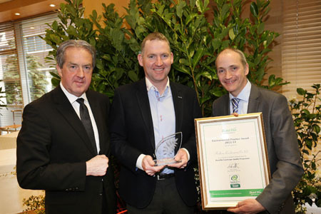 Pictured from left: Aidan Cotter, CEO, Bord Bia; Brian Whyte, Radharc Landscaping; and Mike Neary, horticulture director, Bord Bia.