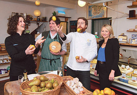 Did your mammy not tell ya 'don't play with your food'? Pictured at the programme launch of the third Galway Food Festival on Monday were Heather Flaherty, McCambridge's, Seamus Sheridan, cheesemonger, JP McMahon, Eat Galway, and Margaret Jenkins of the House Hotel. Photo:-Mike Shaughnessy 0872615780