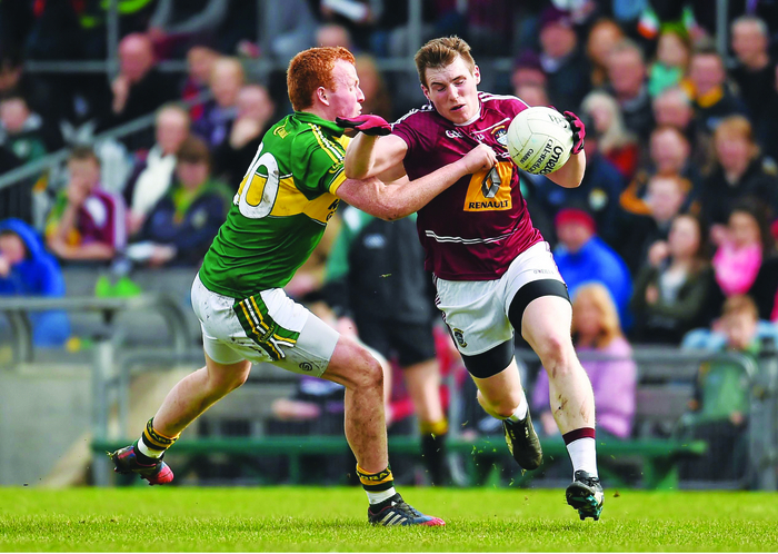 Kieran Martin, Westmeath, in action against Johnny Buckley, Kerry. Photo; Sportsfile.