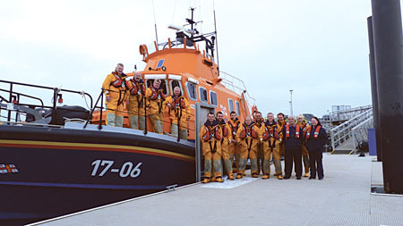 Aran Islands RNLI crew pictured on the newly installed pontoon.