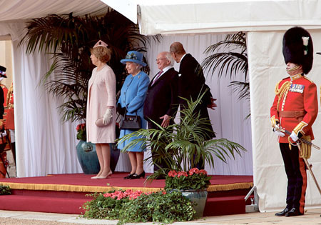 The President of Ireland Michael D Higgins and his wife Sabina with Her Majesty Queen Elizabeth II and The Duke of Edinburgh at Windsor Castle this week, marking the first State visit to to the United Kingdom this week.