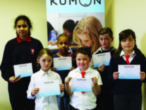 Maths achievers Trinity Villaruel, Shafy Mohammed, Timmy McSweeney, Rachel Corcoran, Joshua Corcoran, and Laura Folan, at the recent presentation of certificates at Kumon Galway City West.