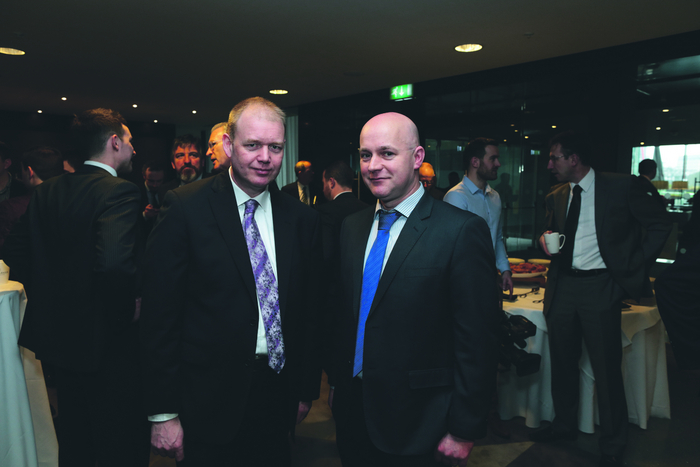 Derek Kennedy (right), Eurospar Swinford, pictured at the national Eurospar Conference with Alan Barry, Eurospar Northern Cross, Dublin, in Dublin's Marker Hotel.