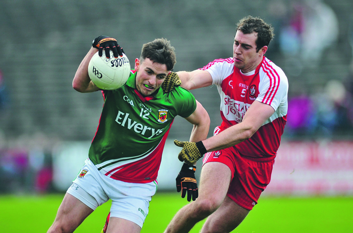 See you Sunday: Jason Doherty and Charlie Kielt will meet again in Sunday's league semi-final. Photo: Sportsfile