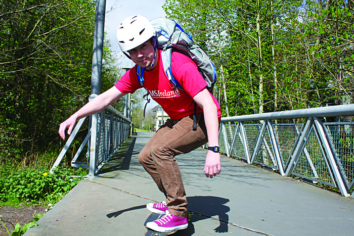 Medical student Cathal MacDonncha in training for his 360km skateboard ride to raise funds for Multiple Sclerosis Ireland.