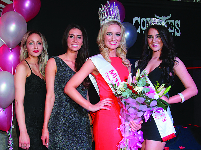 First runner-up Tanya O Brien, second runner-up Nuala Gorham, Miss Galway winner 2014 Leah Tieran, and 2013 Miss Galway, Laura Fox.