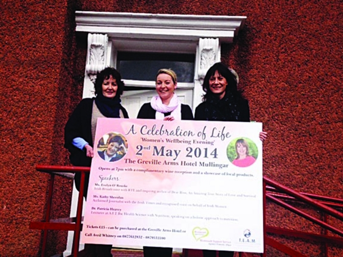 Ann Foley, Westmeath Support; Cllr Avril Whitney; and Anne Quinn, TEAM pictured at the launch of the women's evening