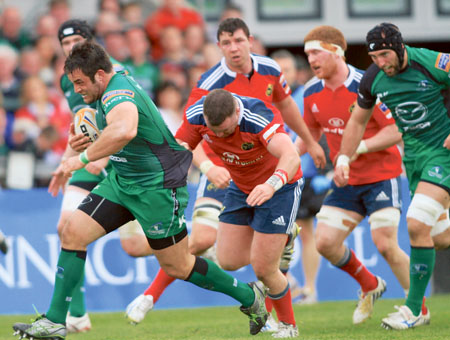 Connacht's Ronan Loughney pulls away from Munster's Dave Kilcoyne in action from the Rabo DrirectPro12 game at the Sportsground on Saturday. Photo:-Mike Shaughnessy